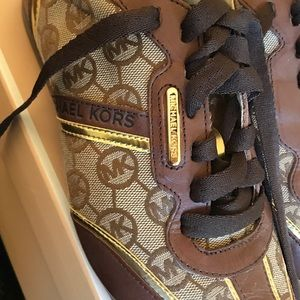 Michael Kors Monogram Jacquard Leather Sneakers